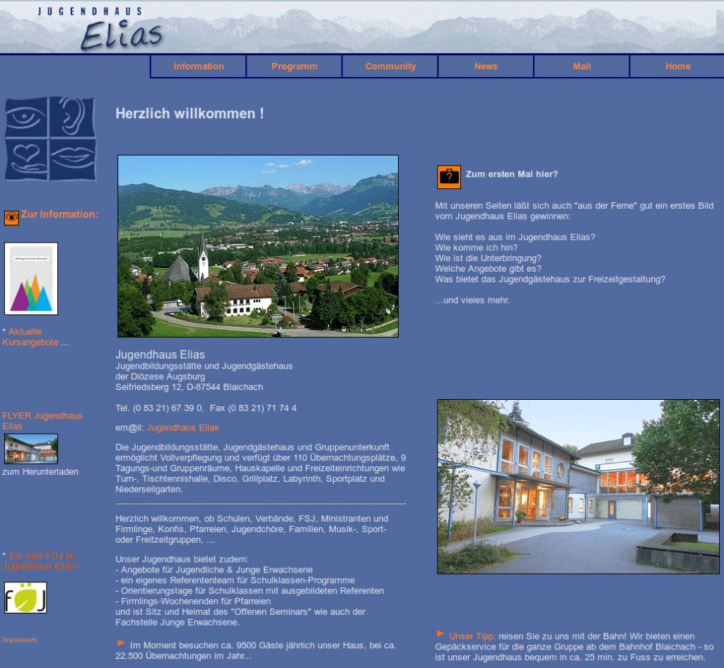jugendhauselias alte homepage screenshot